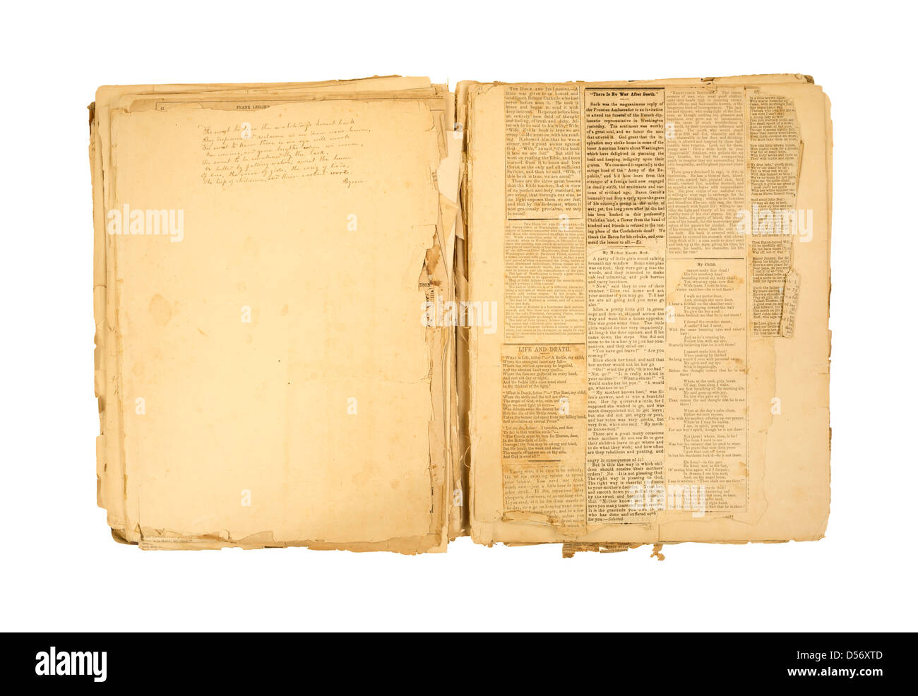 How to scrapbook with newspaper articles - An Antique Scrapbook With A Hand Written Poem And Several Newspaper Clippings Glued To Weathered And