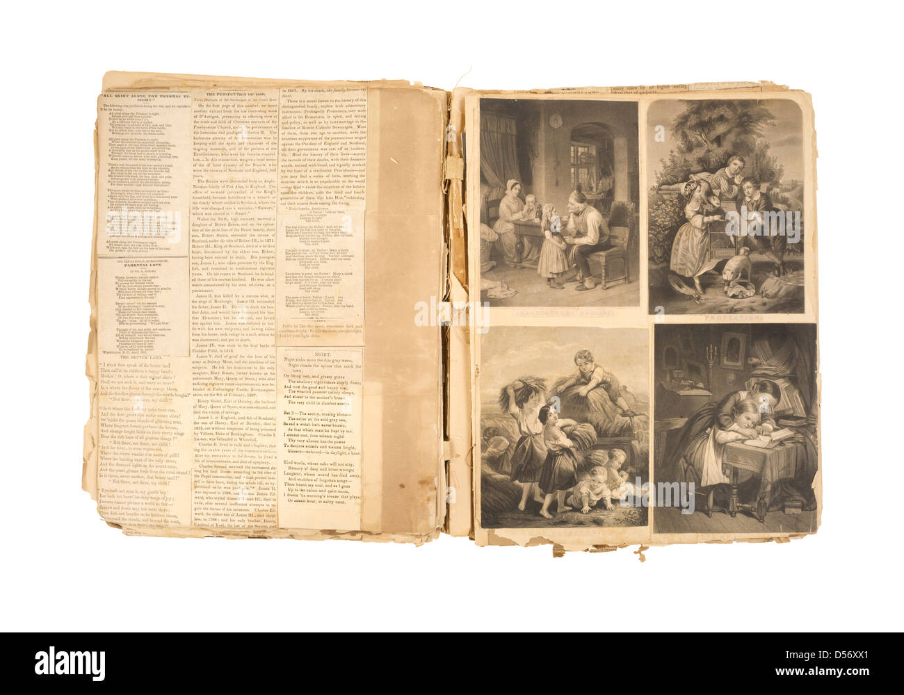 How to scrapbook newspaper clippings - A Vintage Scrapbook With Glued Newspaper Clippings And 1800s Illustrations On A White Background