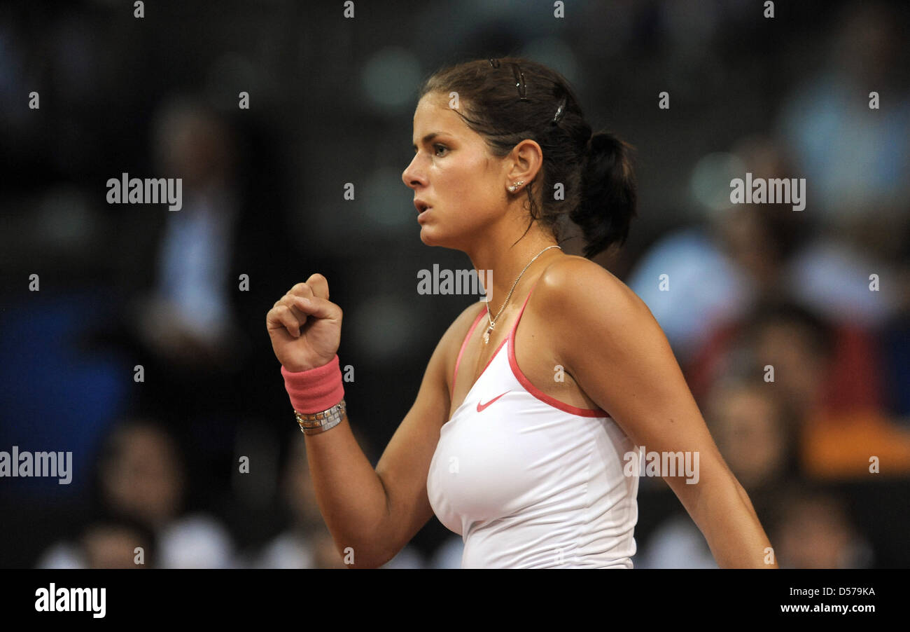German Julia Goerges Cheers During The First Round Match