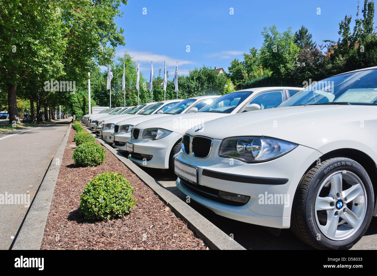 Row of many white BMW luxury cars displayed for sale from a BMW ...