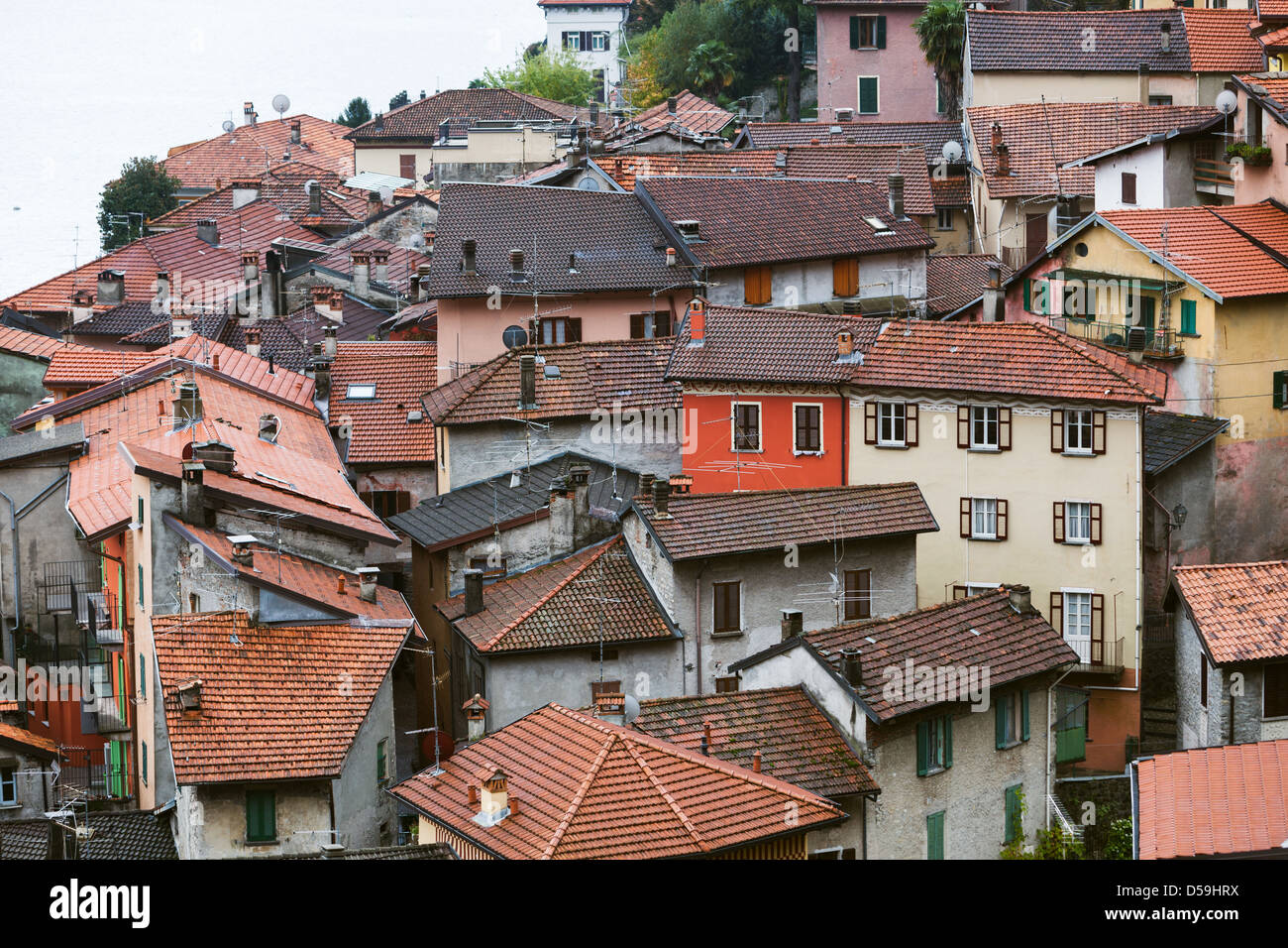 Cramped italian houses argegno lake como italy on a dull for Lake house in italian