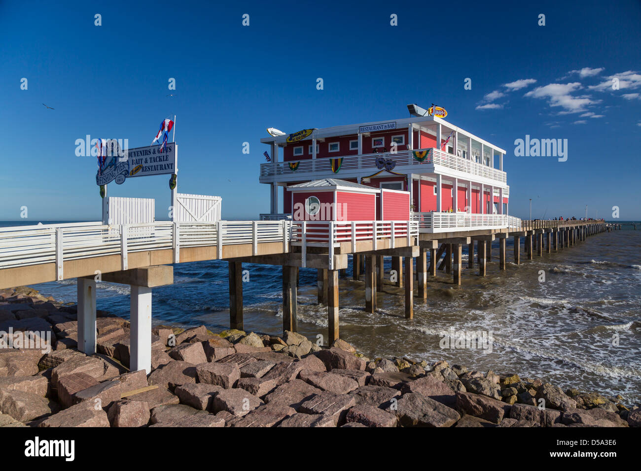 A restaurant and bar on the galveston fishing pier on the for Galveston pier fishing