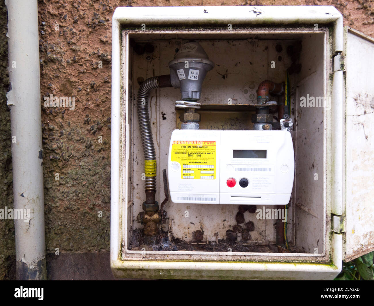 gas meter box on house exterior stock photo  royalty free