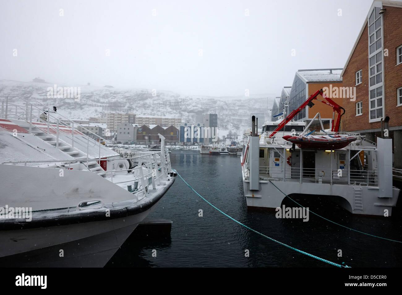 Modern Fast Catamaran Ferries Tied Up In Bad Weather Hammerfest