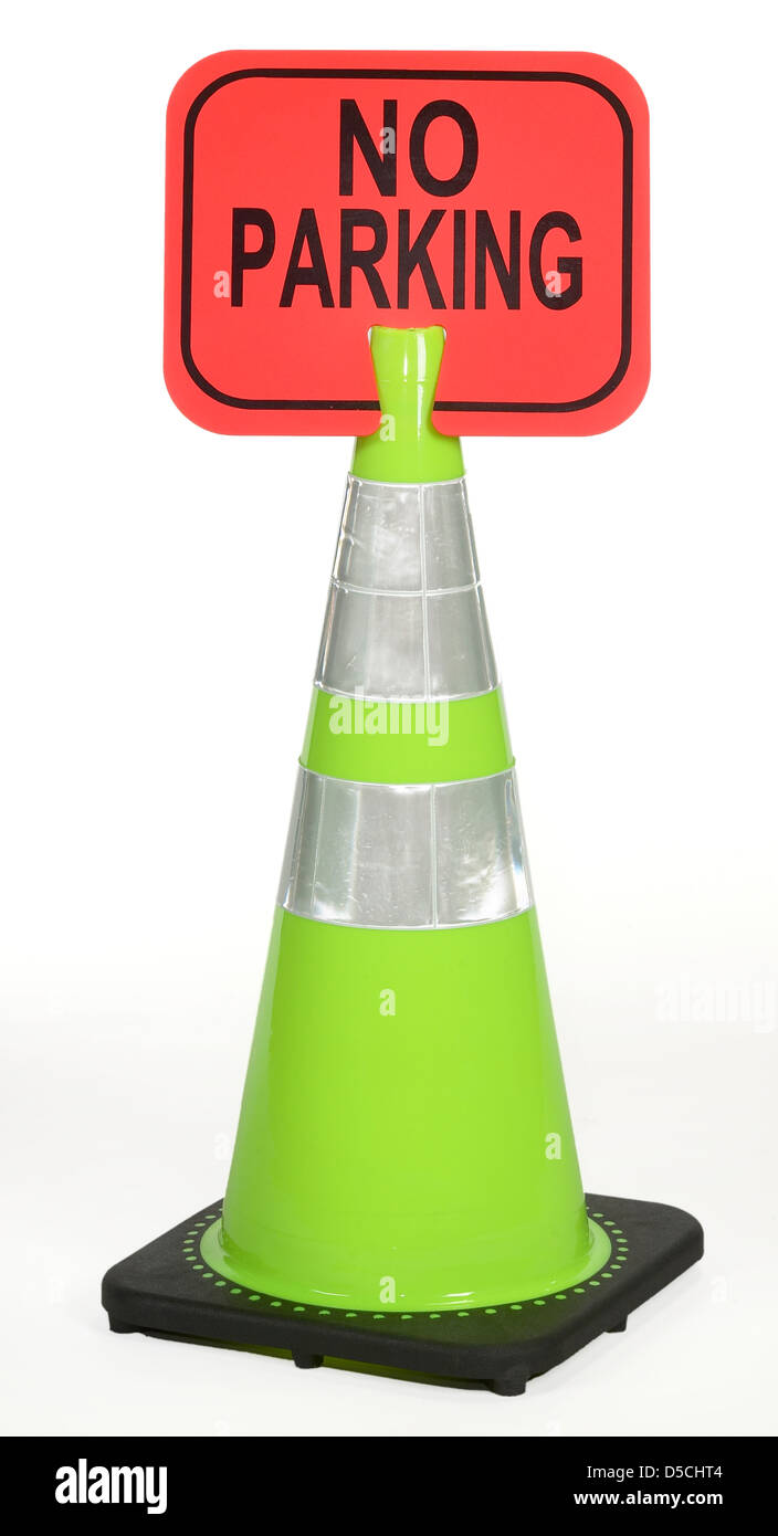 traffic-cone-with-no-parking-sign-D5CHT4