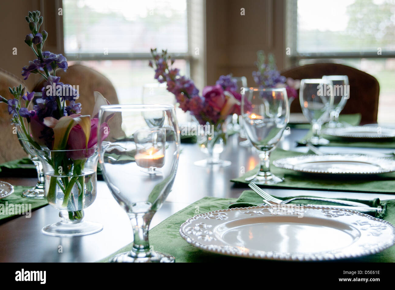 Setting A Dinner Table Residential Dinner Table Setting With Spring Flower Arrangements