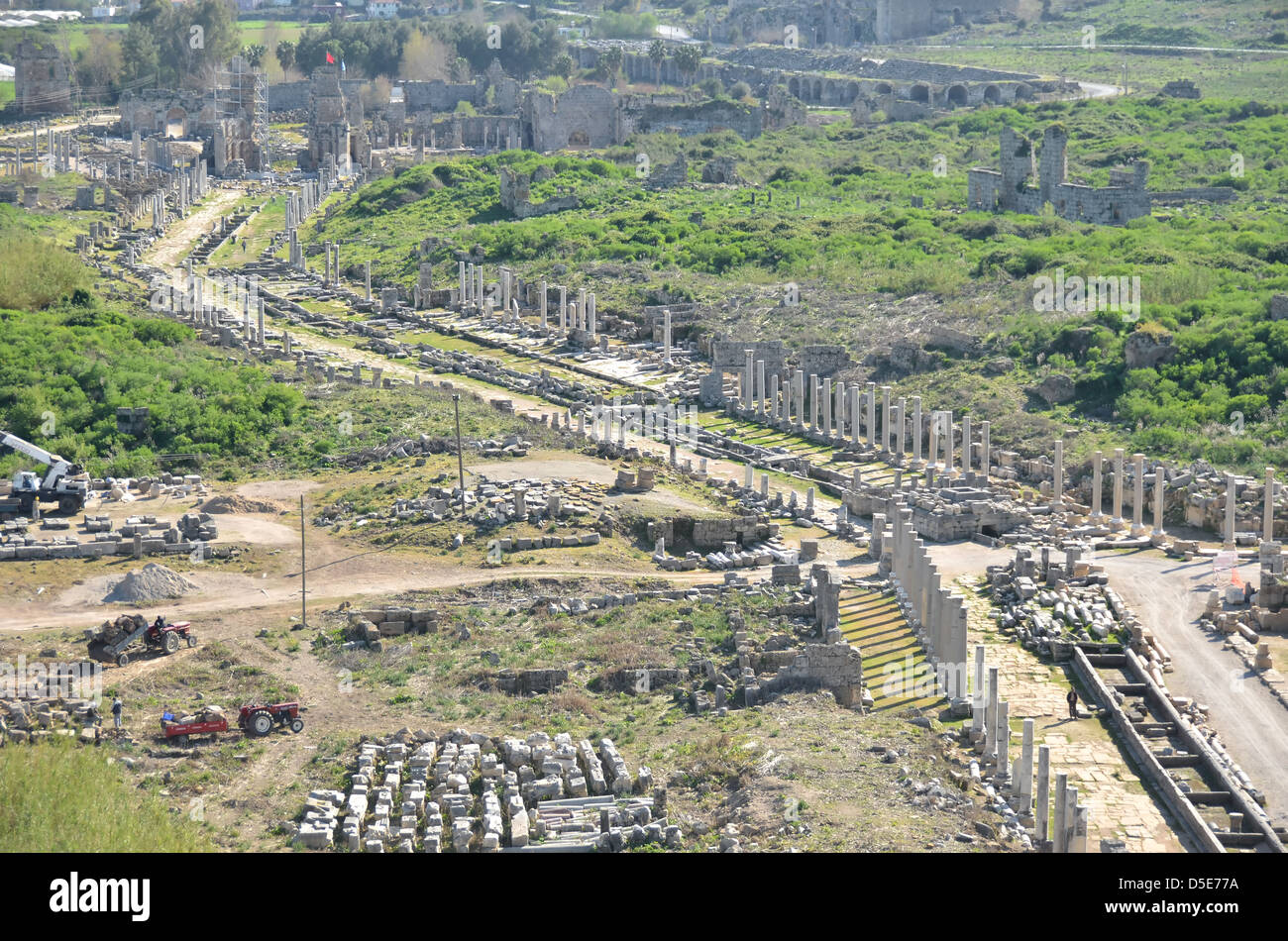 Aerial view of the ancient greek and roman town of Perge, Turkey Stock Photo,...