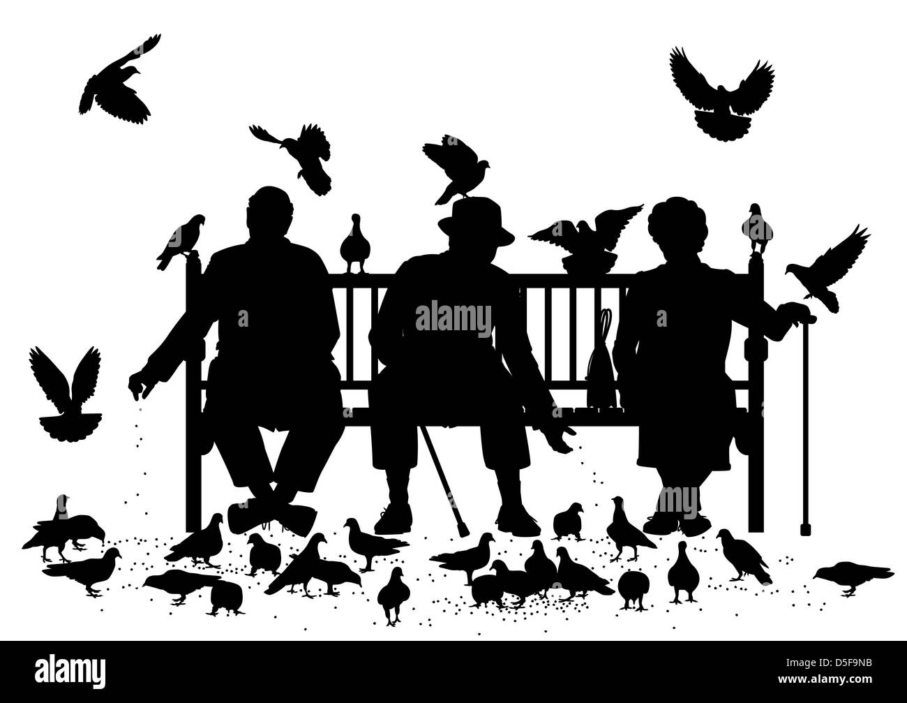 Illustrated silhouettes of three elderly people on a park bench ... for People On Bench Silhouette  70ref