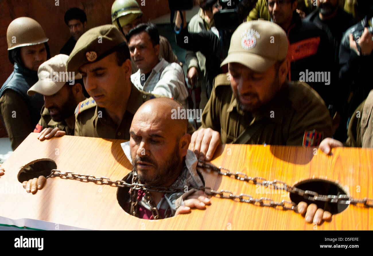 Kashmir India 1st April 2013 Indian police detain Mohammad
