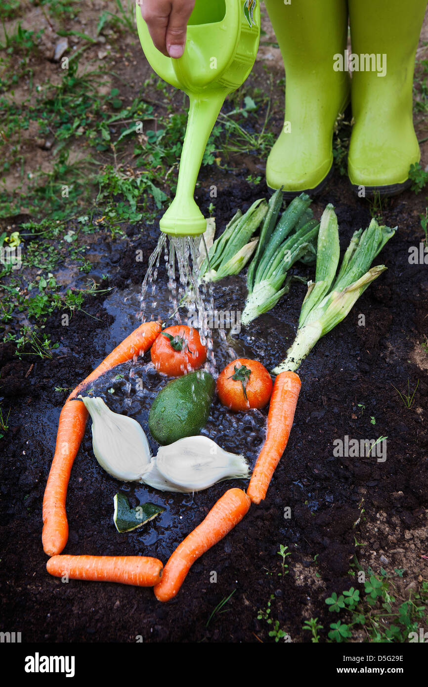 Kitchen Garden Vegetables Funny Face Made With Organic Vegetables In A Healthy Kitchen