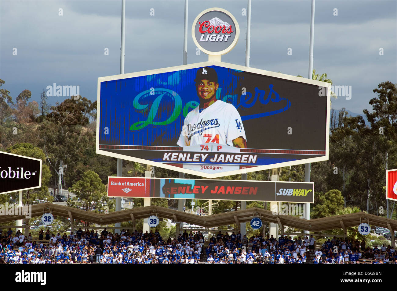 the dodgers scoreboard at dodger stadium in los angeles