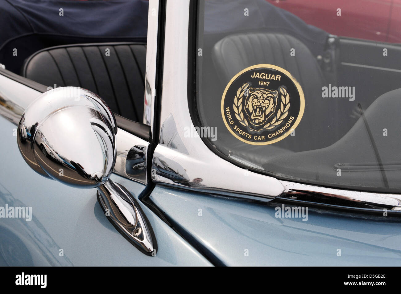 Car side mirror sticker design - This Side View Mirror And Decal Is Closeup Of 1967 E Type Jaguar 4 2 Series 1 At The 58th Annual Easter Sunday Vintage Car