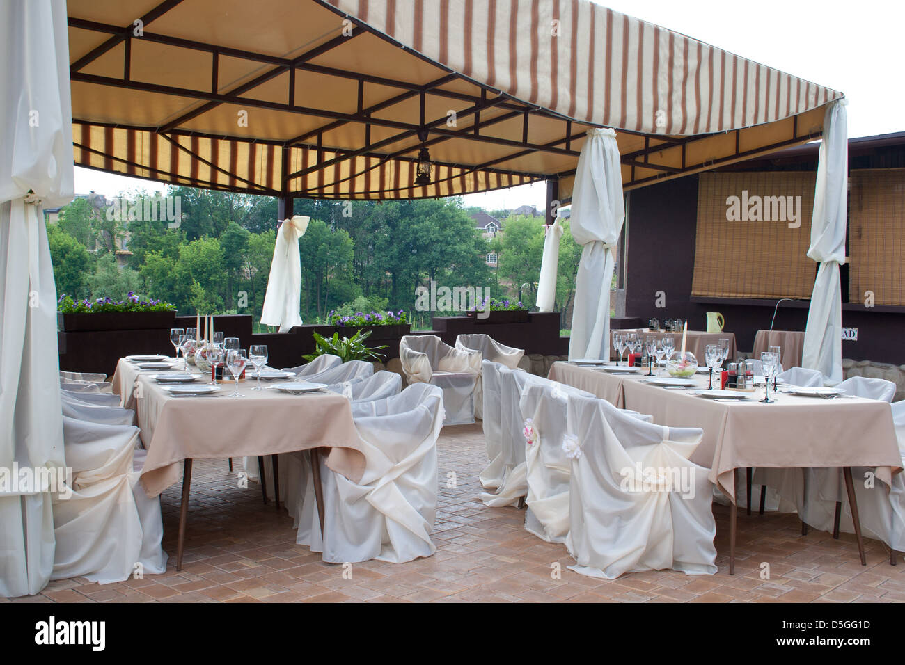Restaurant table setup - Formal Breakfast Table Setup At Hotel Restaurant Interior Of A Restaurant In A Hotel During Evening