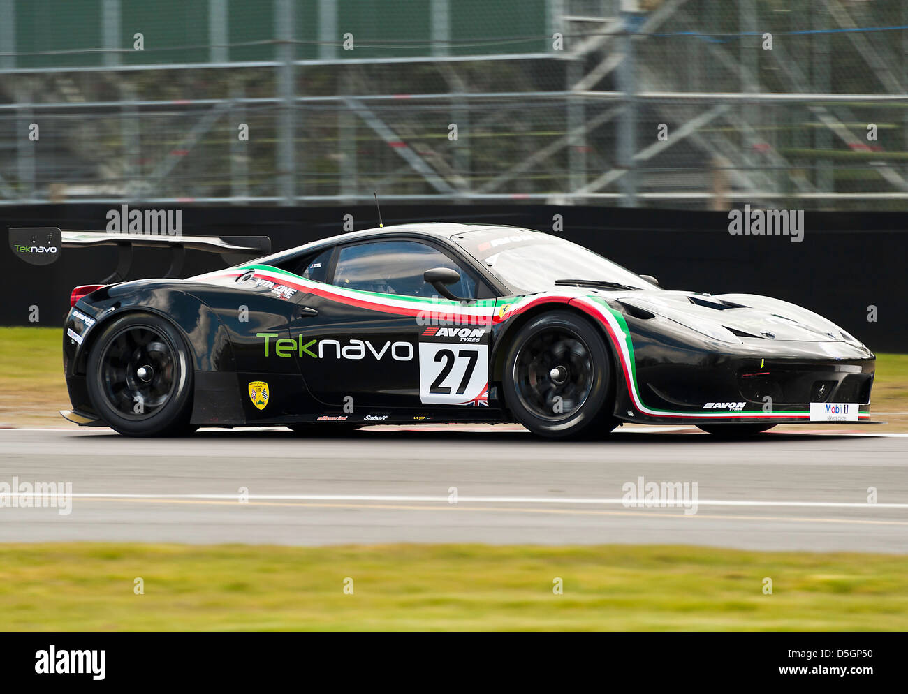 Ferrari 458 Italia GT3 Sports Car In British GT Championship At Oulton Park  Motor Racing Circuit Cheshire England United Kingdom