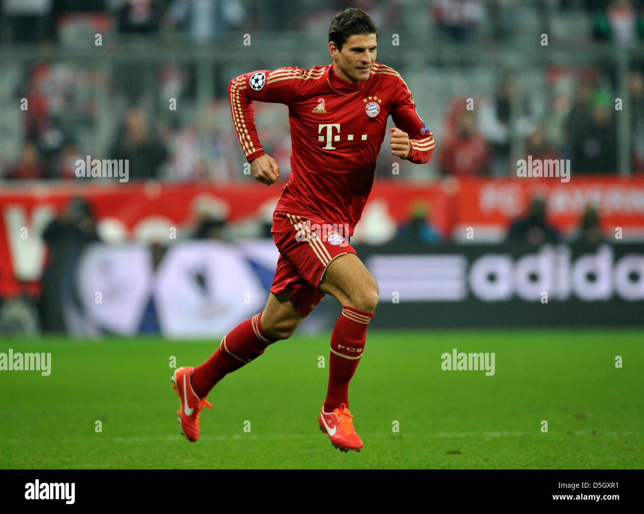 Munich s Mario Gomez is substituted during the UEFA Champions