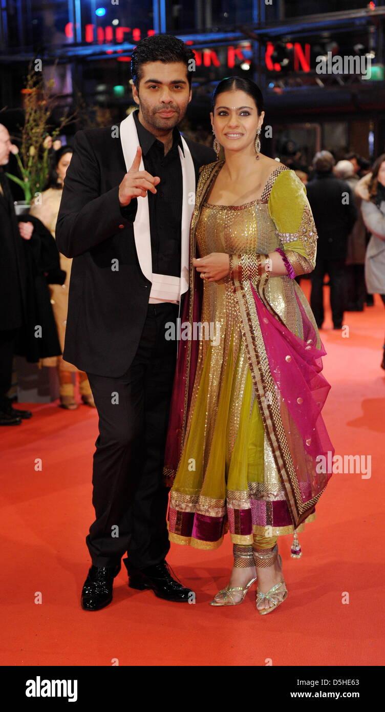 Indian Actress Kajol Devgan And Director Karan Johar Arrive For The Premiere Of Film