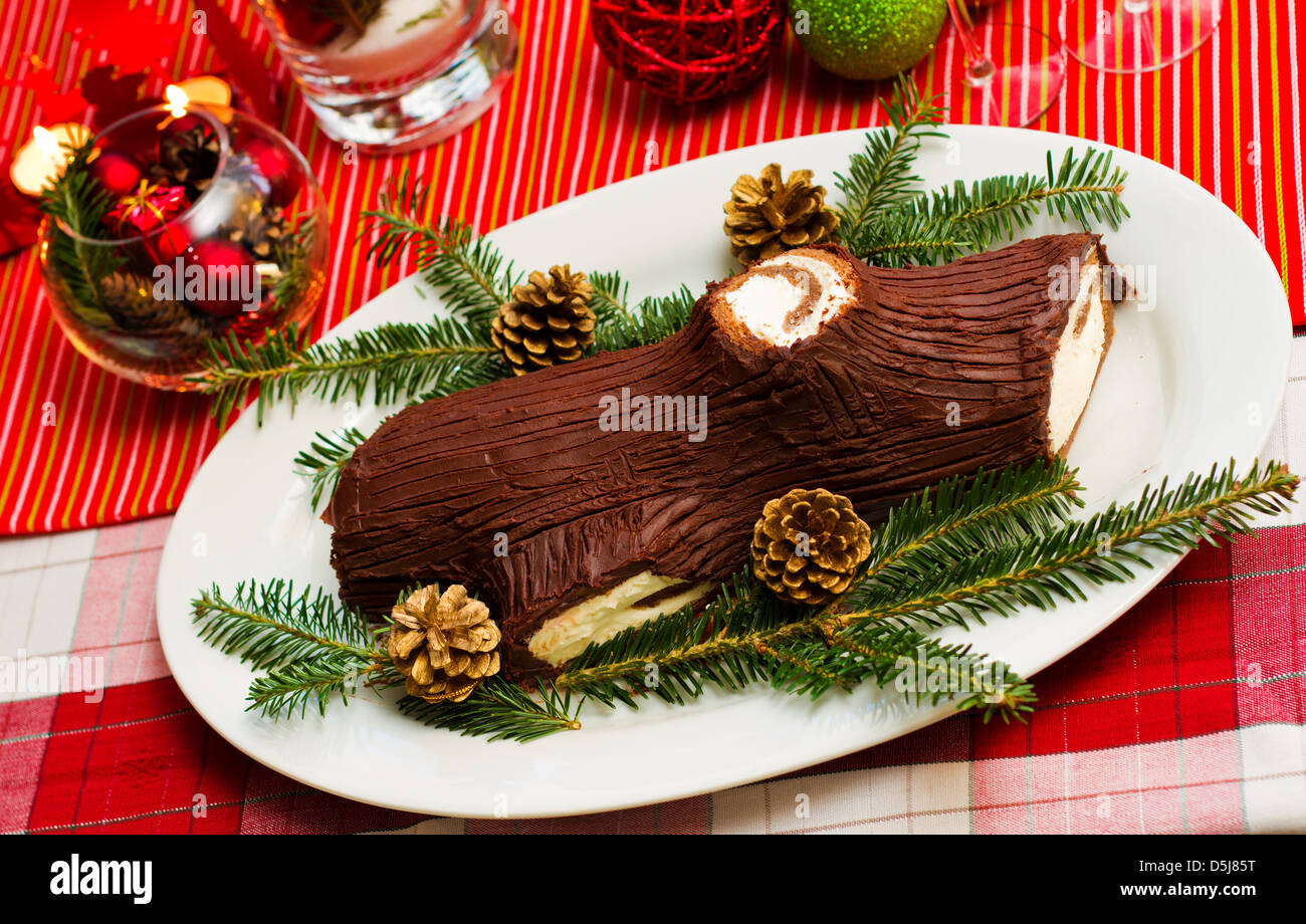How to make a christmas yule log decoration -  Traditional French Christmas Table With Christmas Yule Log Cake With Christmas Decoration Stock Photo