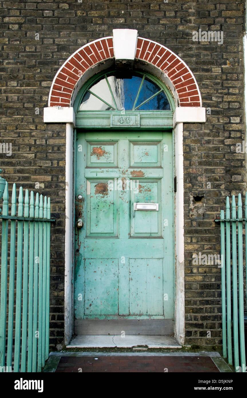 Distressed Georgian front door, Fitzroy Street, Fitzrovia, London ...