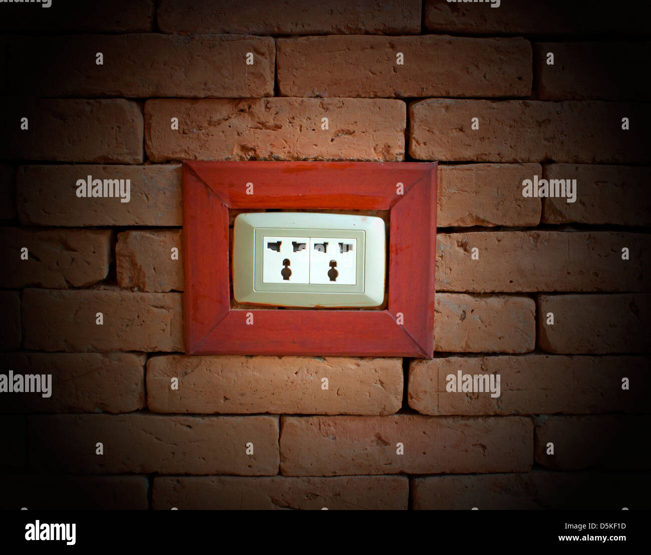 Electrical outlet on a wall of red brick stock photo, royalty free on install electrical outlet brick wall Basic Electrical Outlets Power to Switch From a Two Install Light Switch
