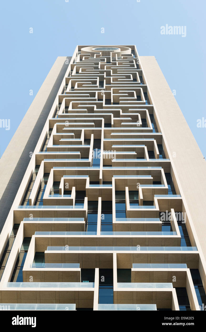 modern apartment building facade. Detail of modern architectural details on new high rise apartment building  in Dubai United Arab Emirates