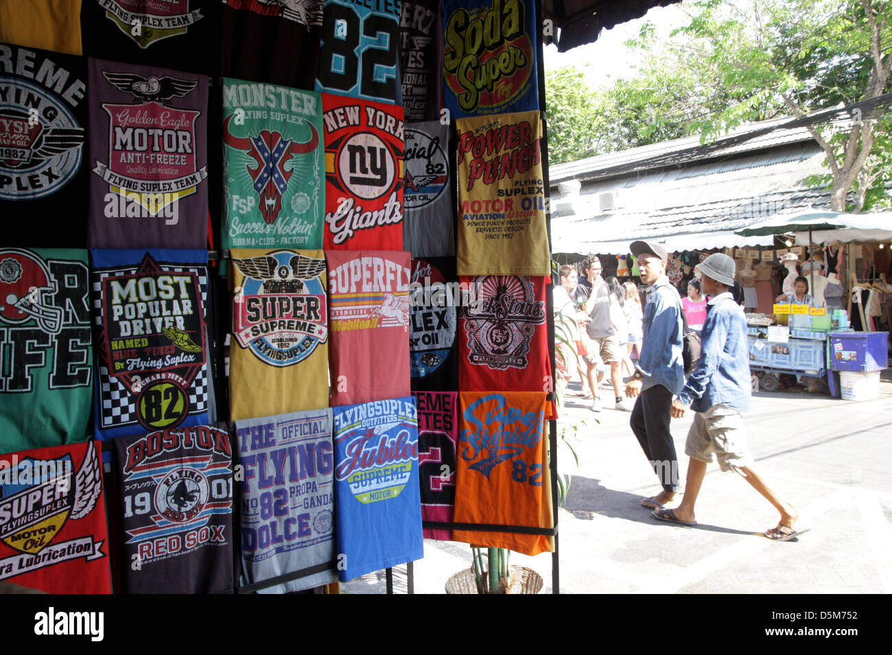 t shirts display shop at chatuchak weekend market in bangkok stock photo royalty free image. Black Bedroom Furniture Sets. Home Design Ideas
