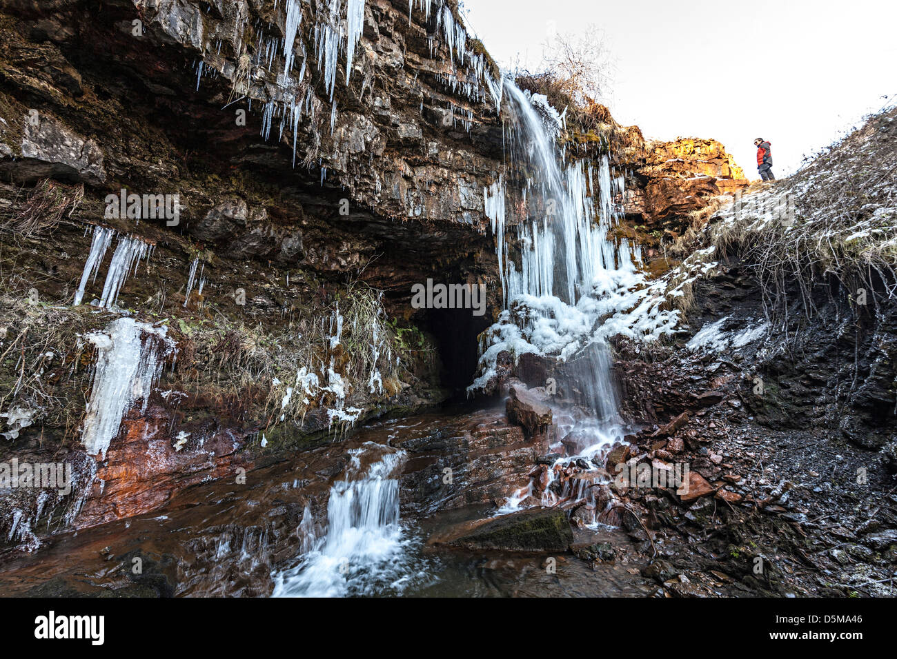 Icicles in the Clydach Gorge at the Punchbowl or Coal Tar Cave ...