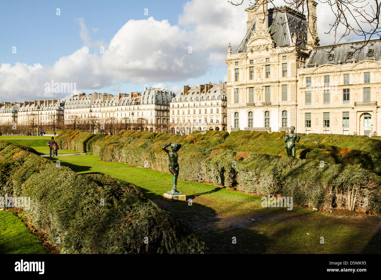 tuileries garden jardin des tuileries and partial view of louvre stock photo royalty free. Black Bedroom Furniture Sets. Home Design Ideas