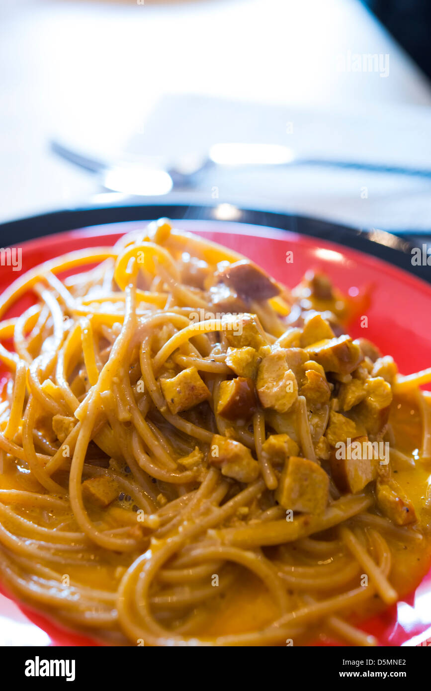 Aghetti (pasta) Alla Carbonara Made With Bacon, Eggs, Cheese And ...