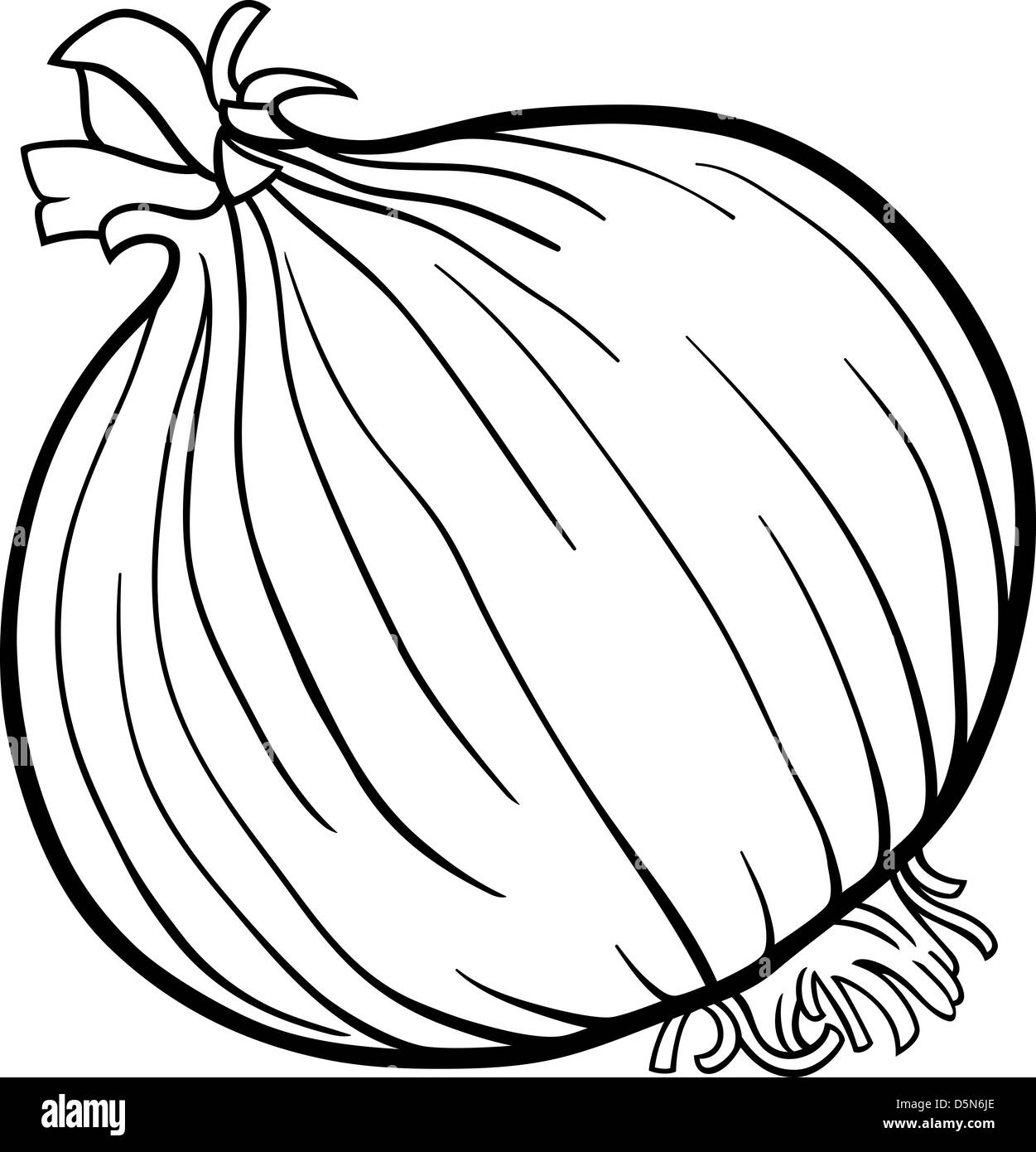 Black and White Cartoon Illustration of Onion Root Vegetable Food ...