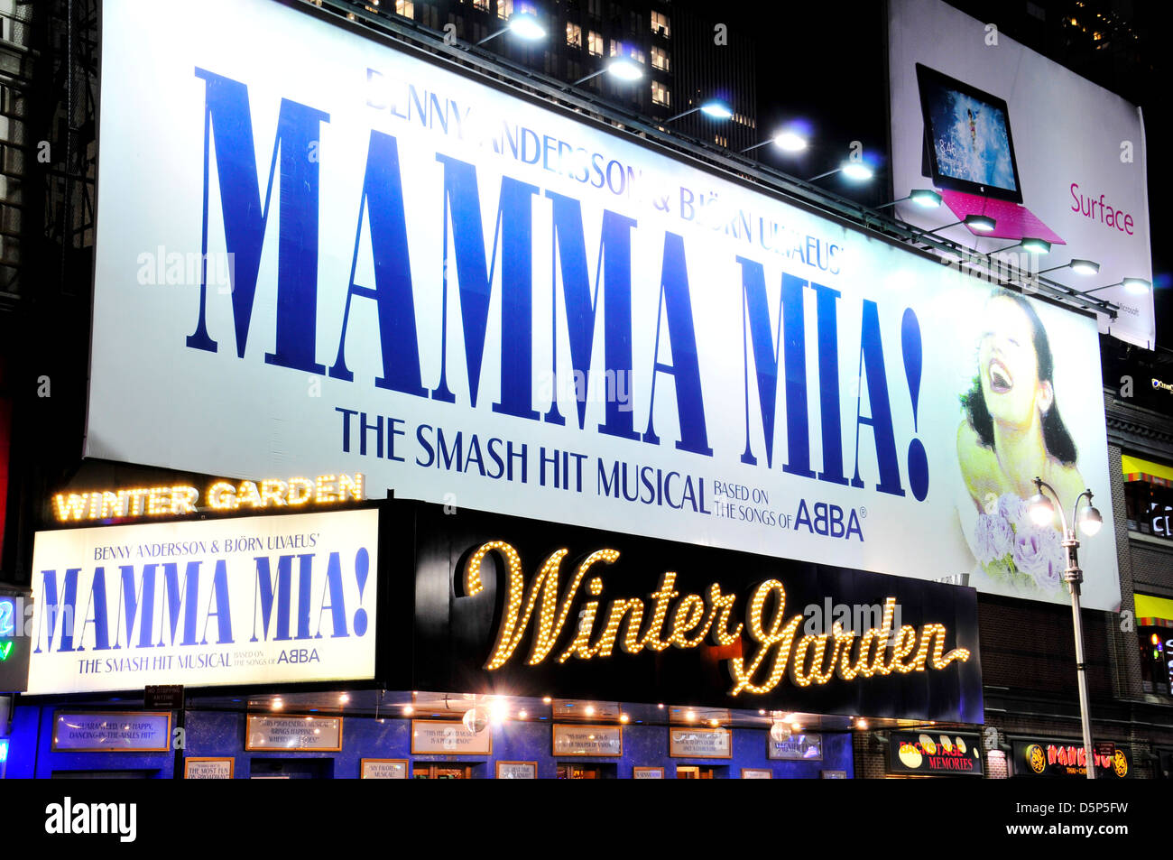 mamma mia at the winter garden theater is a broadway stock photo