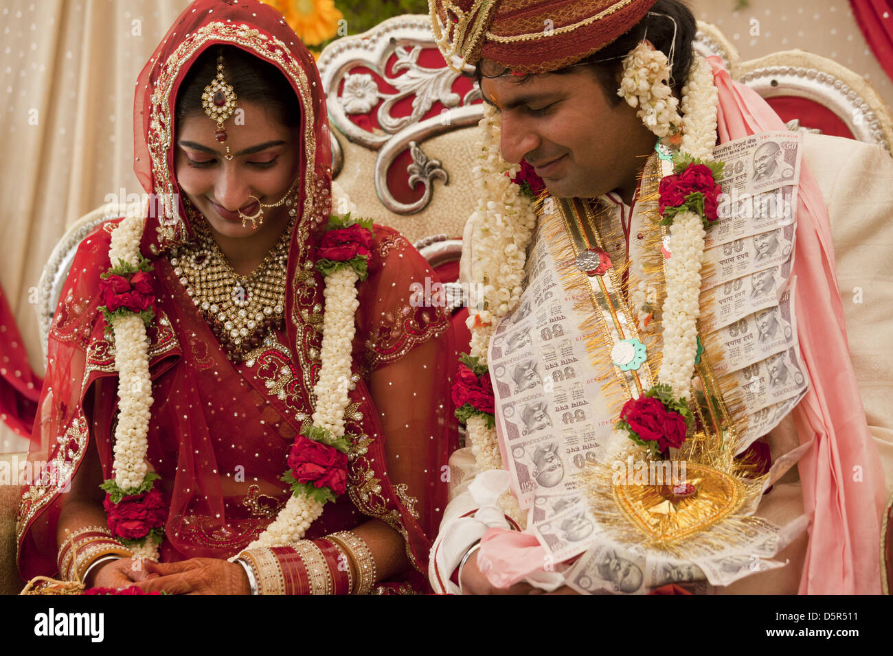 Newly Wed Indian Couple At Their Wedding Ceremony