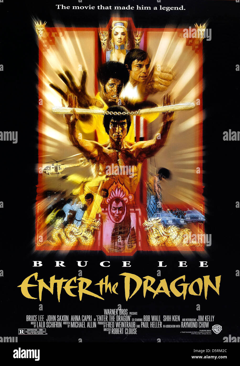 bruce lee poster enter the dragon 1973 stock photo