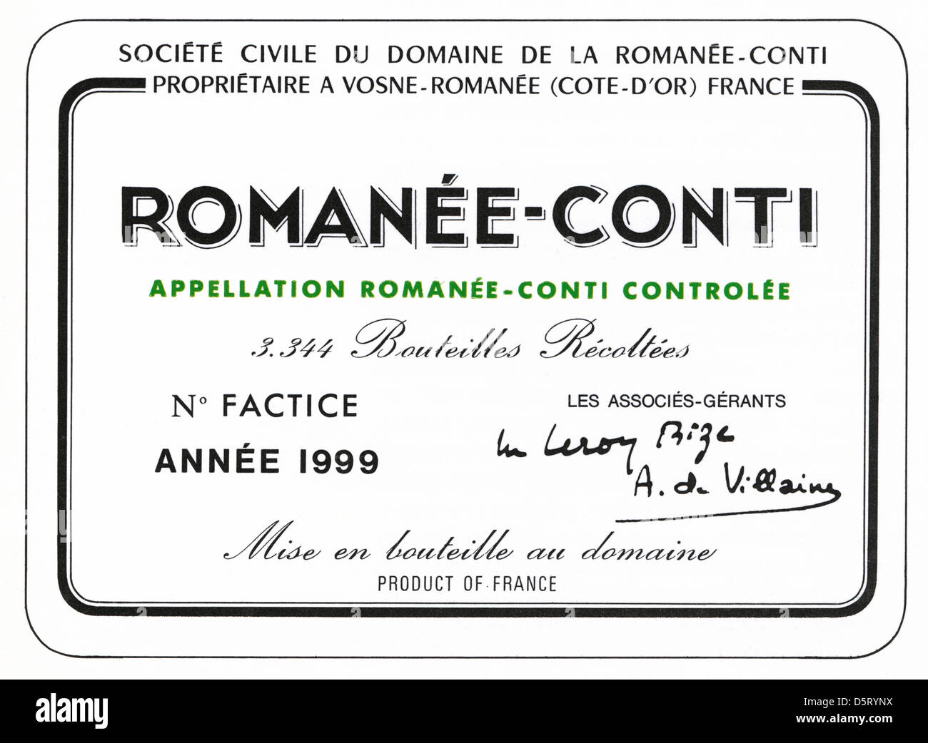 1999 Wine Bottle Label Domaine Roman 233 E Conti The Most