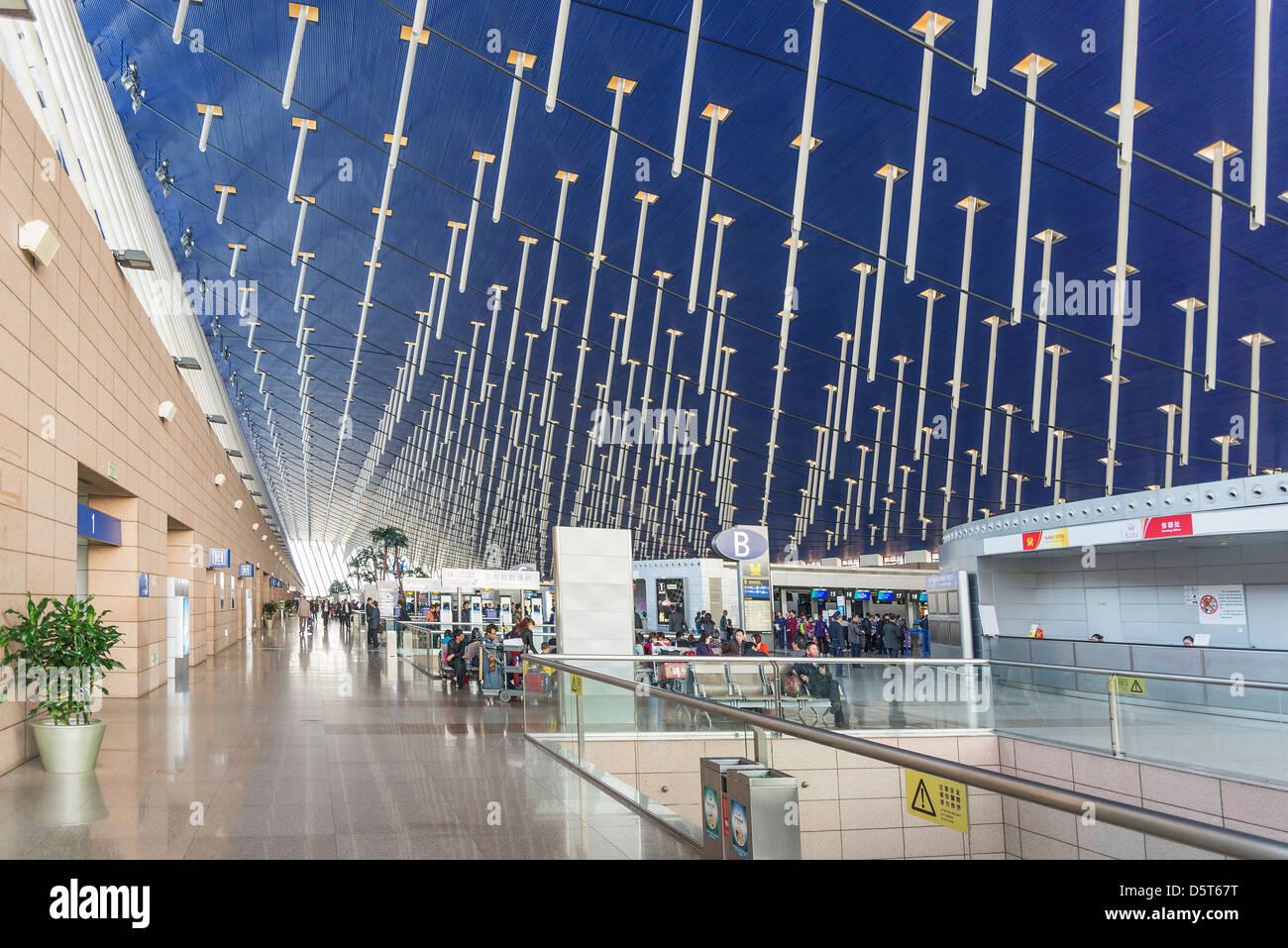 Shanghai Pudong Airport Interior In China Stock Photo