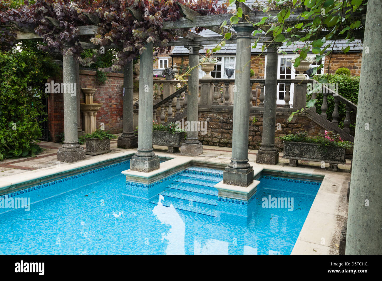 Swimming Pool With Classical Columns And Mosaic Tiles In The Stock Photo Royalty Free Image