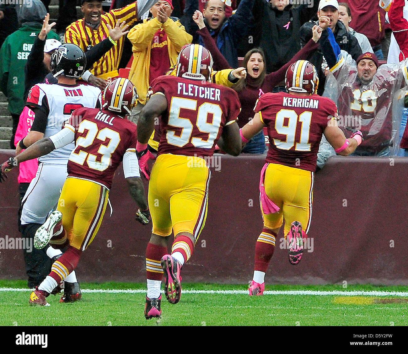 Washington Redskins linebacker Ryan Kerrigan 91 scores a