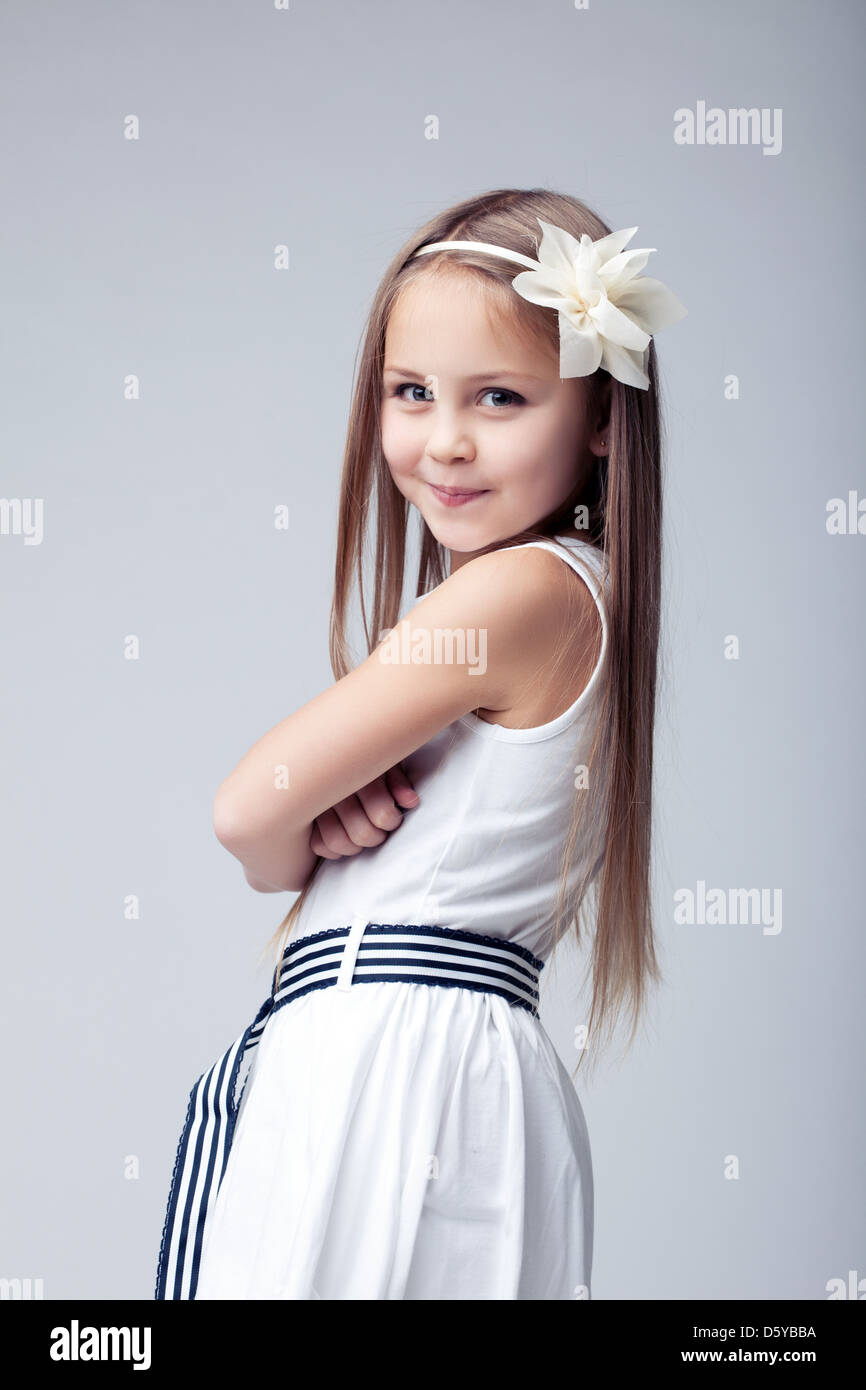 blonde little girl Pretty blonde little girl in white dress