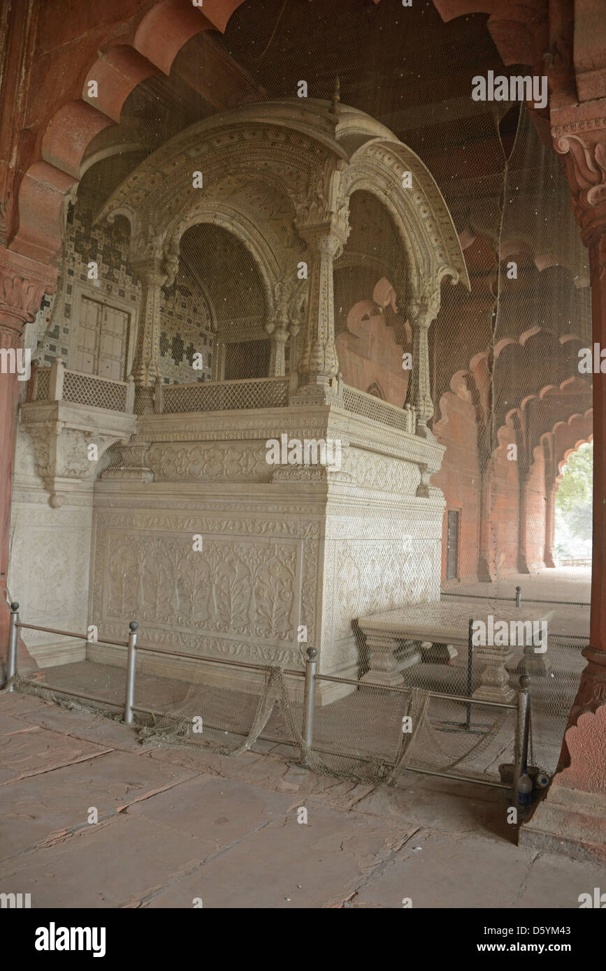 The throne canopy in the Diwan-i-Aam or the Hall of Public Audiences in the Red Fort Old Delhi India & The throne canopy in the Diwan-i-Aam or the Hall of Public ...