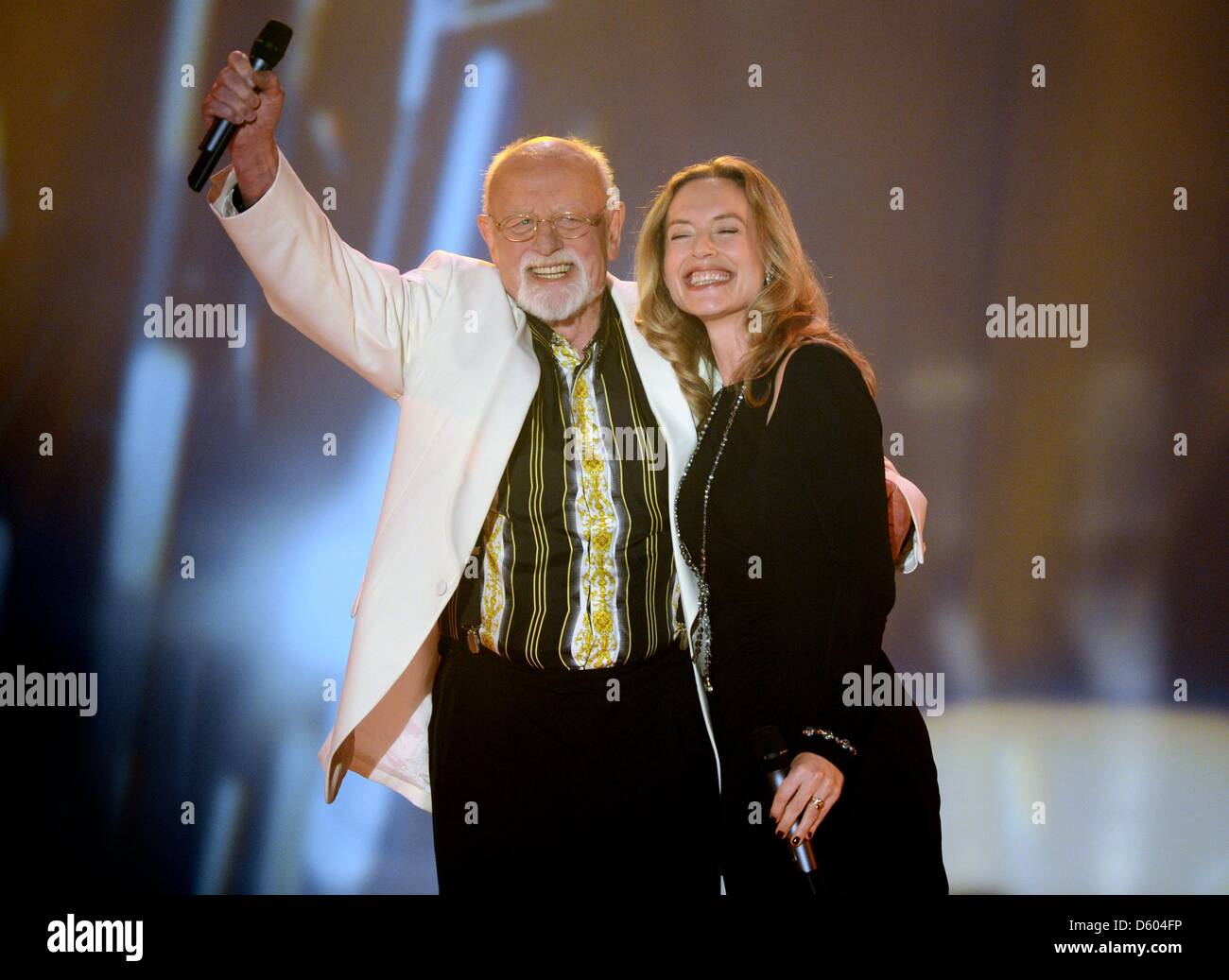Singer Roger Whittaker and his daughter Jessica recording a ...