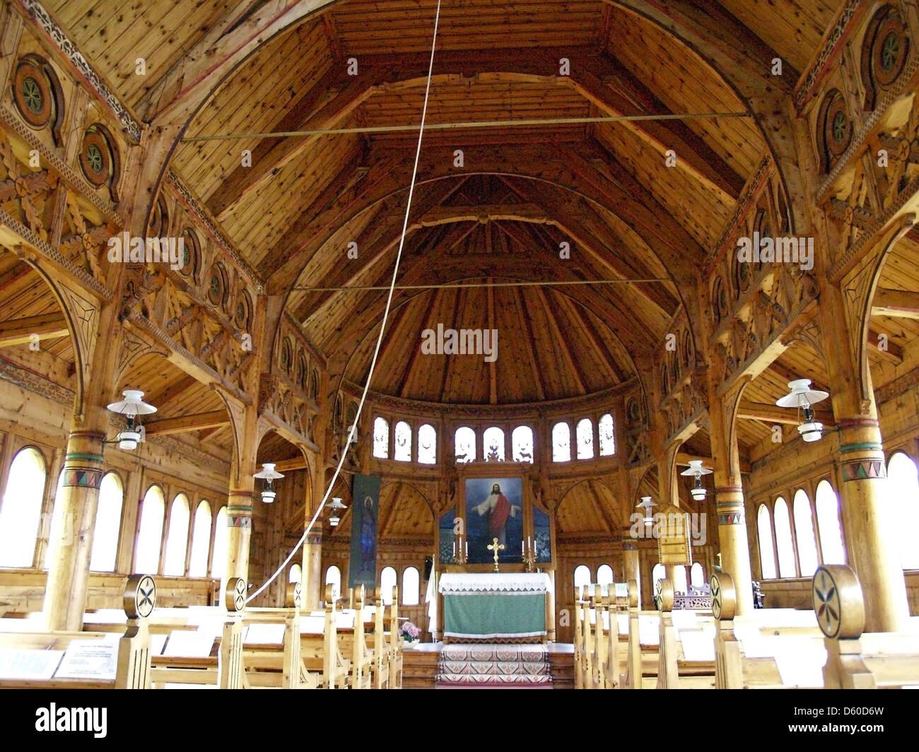 The interior of St.Olafs Church,Balestrand,Norway Stock Photo ...