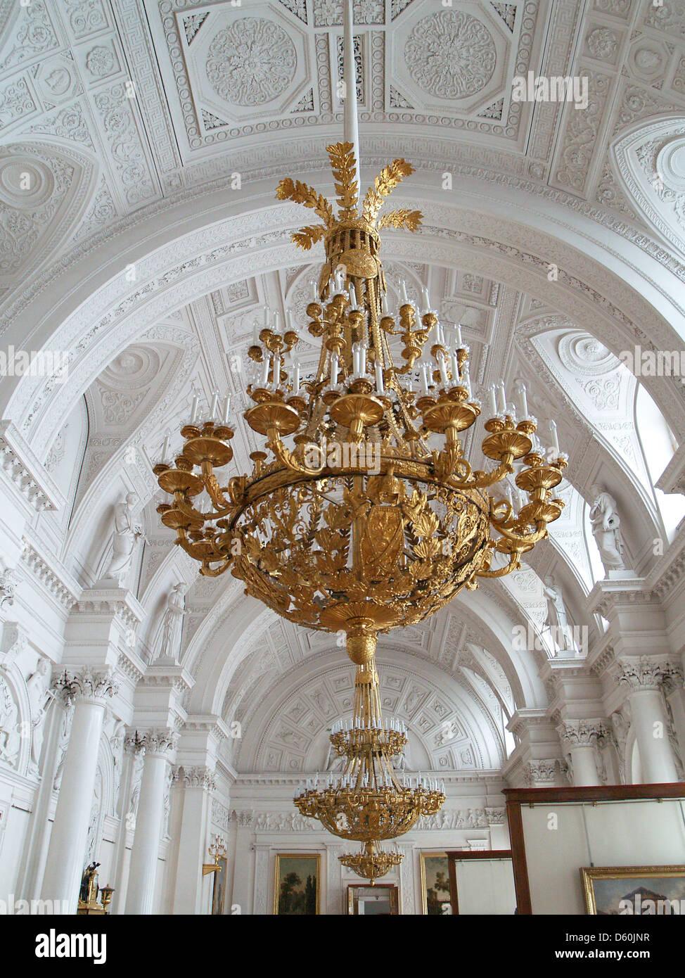 Gold Chandeliers Hanging In The Great White Hall Hermitage