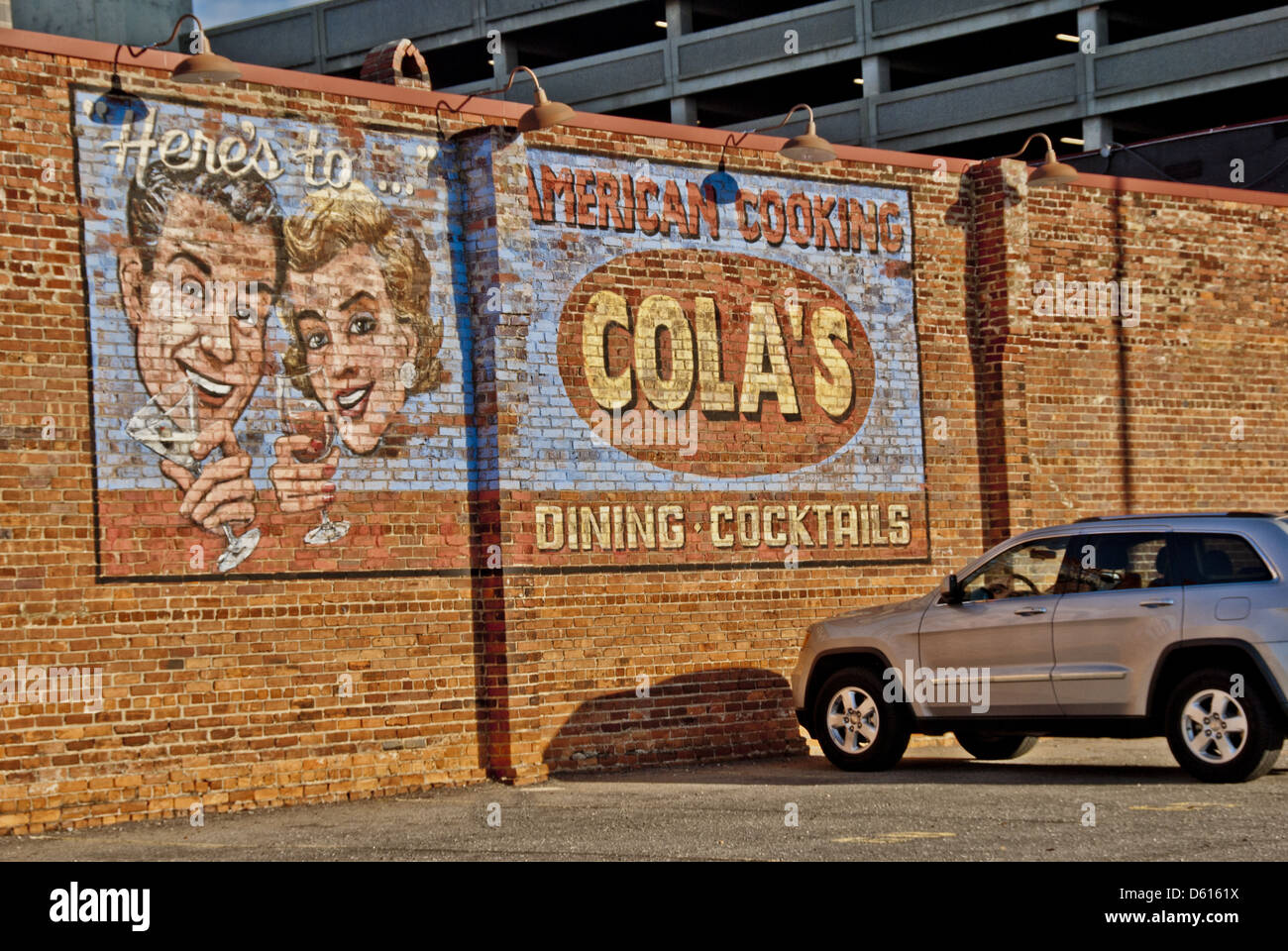 man mural building exterior stock photos man mural building painted mural on brick exterior of the royal crown cola bottling company building columbia