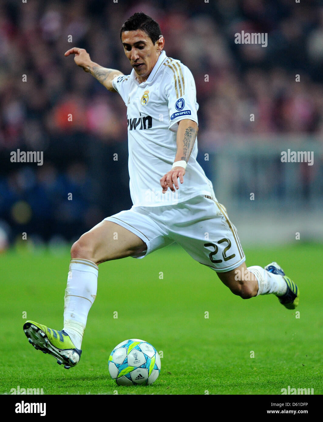 Madrid s Angel Di Maria plays the ball during the first leg of the