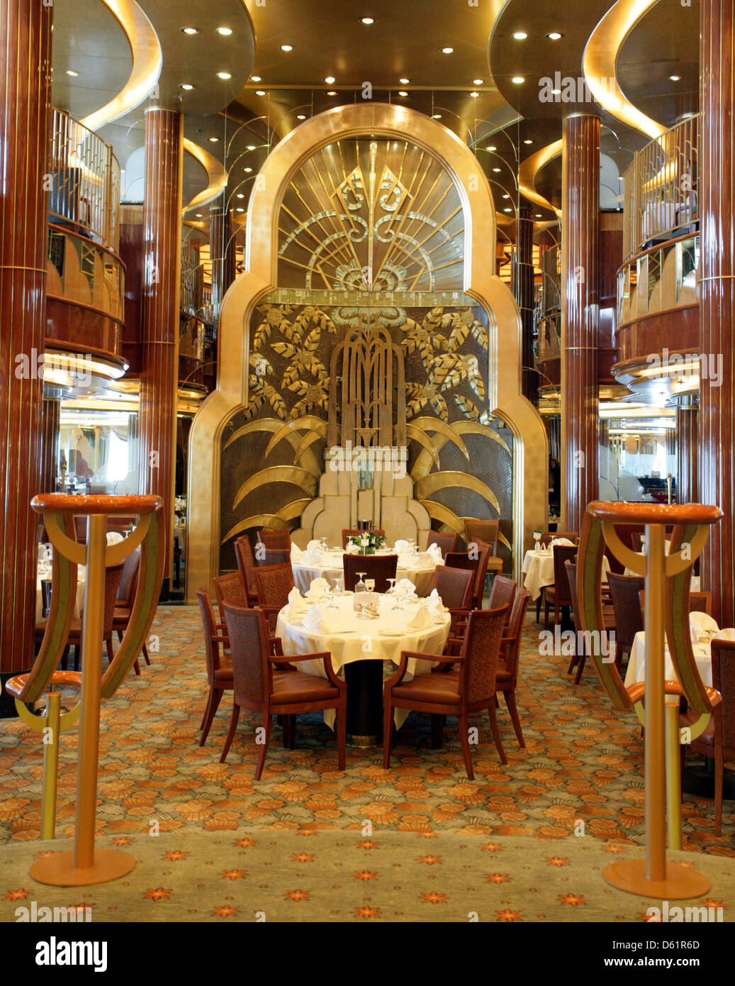 View To The Dining Room On Board Of Queen Elizabeth Cruise Ship In