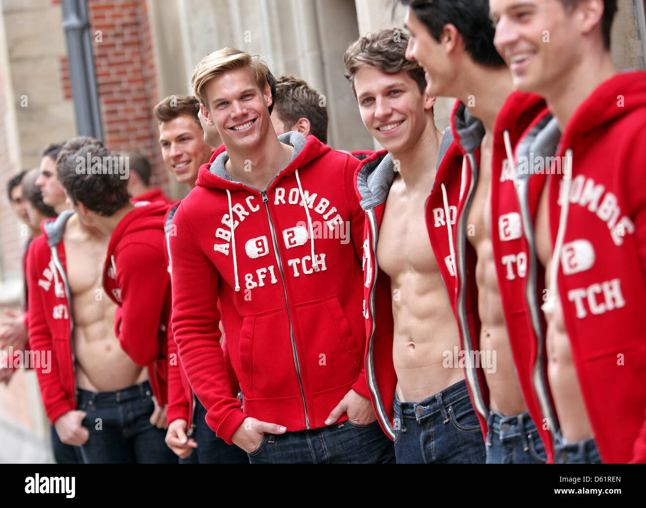 Models stand in front of a 'Abercrombie & Fitch' fashion store in ...