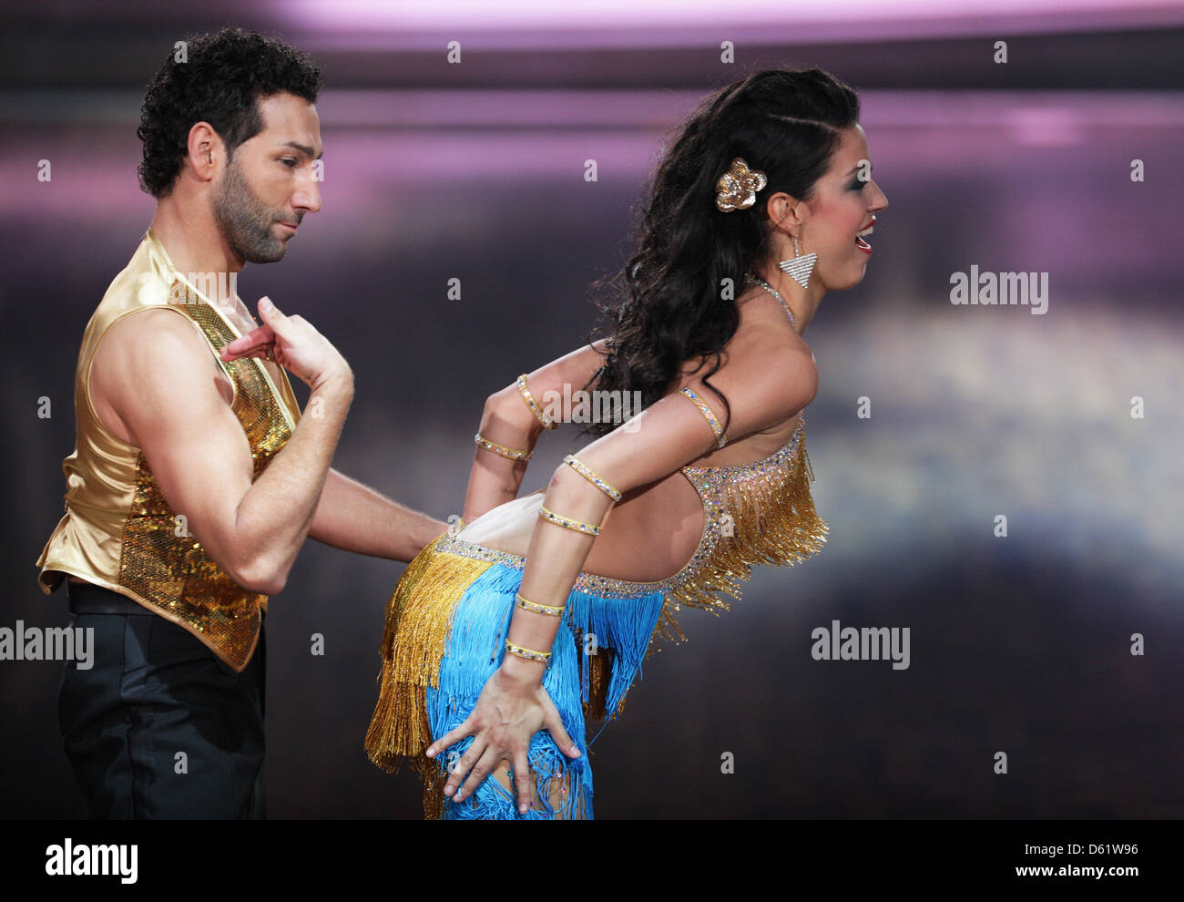 model rebecca mir and dancer massimo sinato perform on stage during rtl television dance show let s dance in cologne germany 02 may 2012