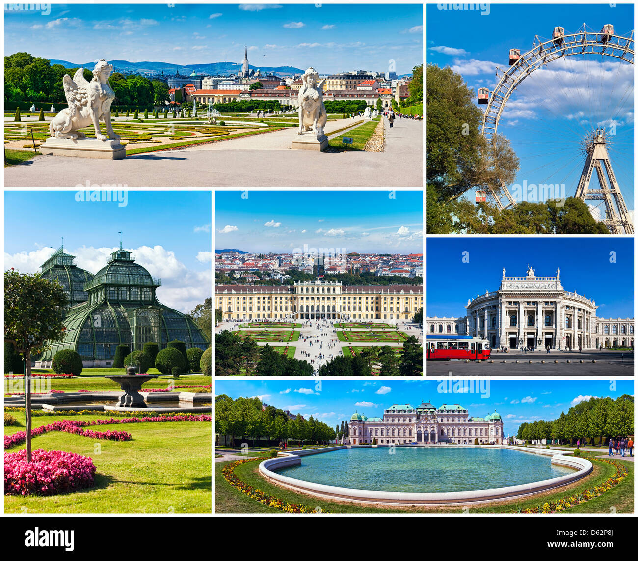 Collage With Famous Places Landmarks And Buildings Of Vienna