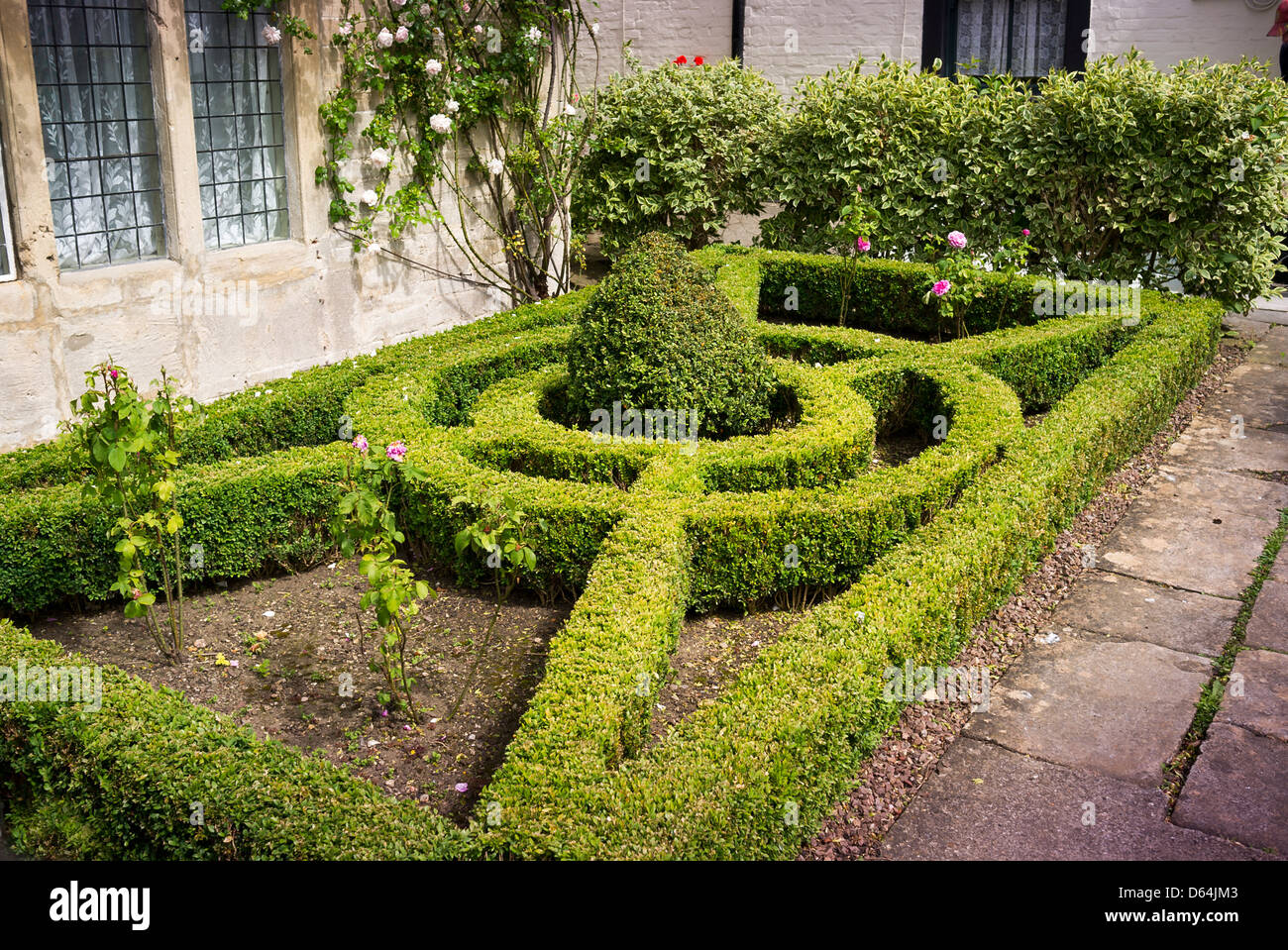 Small front garden with neat geometrical box edged for Parterre garden designs