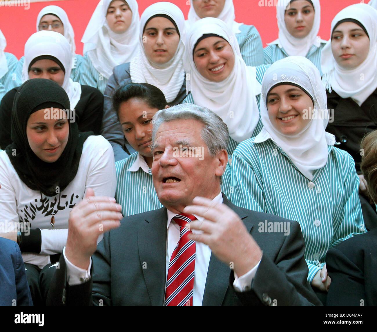 German Federal President Joachim Gauck Talks To School Girls At A ...