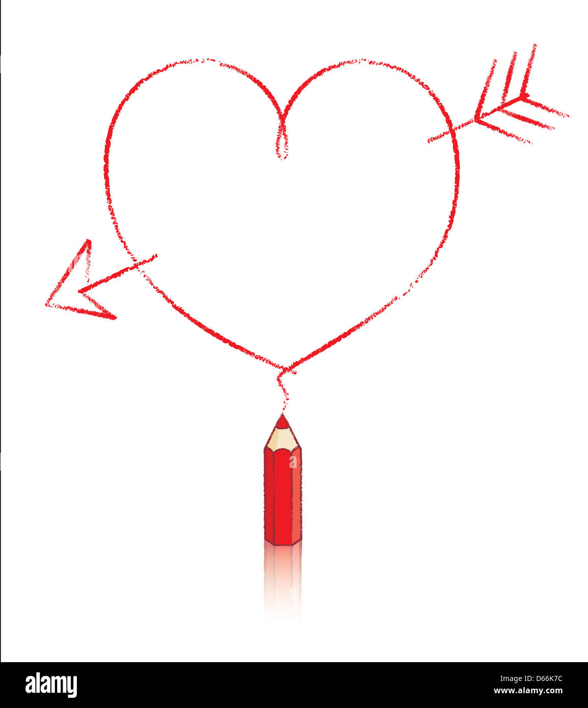 Empty love heart shaped message with cupids arrow drawn by small empty love heart shaped message with cupids arrow drawn by small red pencil with reflection ccuart Images